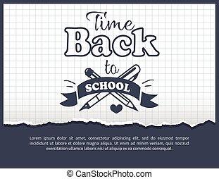 De vuelta a la pegatina de tiempo escolar con texto en blanco