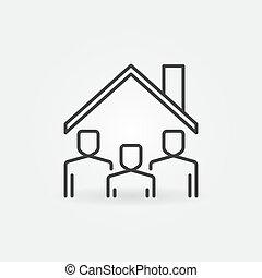 debajo, línea, vector, techo, señal, estancia, icon., hogar, gente