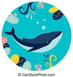 debajo, redondo, caricatura, azul, fondo., agua, vector, plano, style., ballena