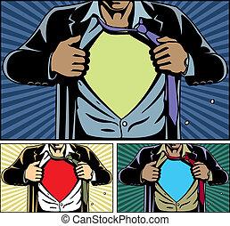 debajo, superhero, cubierta