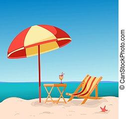 debajo, umbrella., silla de la playa, cubierta
