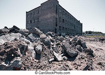 decaído, abandonado, ladrillo, edificio., fachada