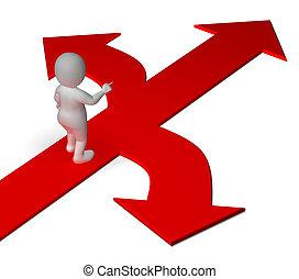 decidir, o, alternativas, actuación, flechas, opción, opciones