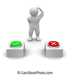 decidir, rendido, illustration., botón, press., 3d, hombre