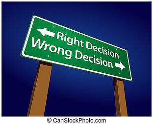 decisión, decisión, ilustración, señal, mal, derecho, verde, camino