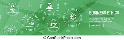 decisión, empresa / negocio, integridad, bandera, honradez, compromiso, éticas, conjunto, tela, icono