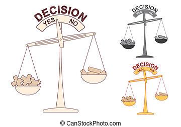 decisión, escala, más, menos
