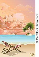 deckchair, playa, vacío, amanecer