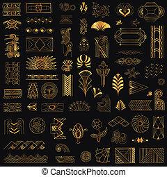 deco, arte, vendimia, -, mano, vector, diseño, marcos, dibujado, elementos
