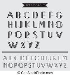 deco, arte, vendimia, -, tipografía, vector, fuente, eps10, tipo