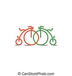 decoración, bicicleta, vector, vendimia, círculo, viejo