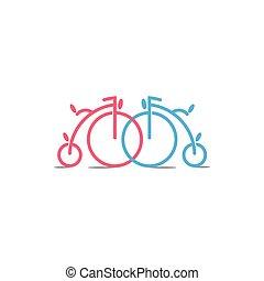 decoración, bicicleta, viejo, ligado, vector