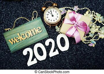 decoración, caja, feliz, año, nuevo, bienvenida, 2020, regalo, plano de fondo, alarmclock, señal