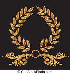 Decoración de coronas de laurel de oro
