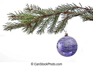 Decoración de Navidad azul en el abeto