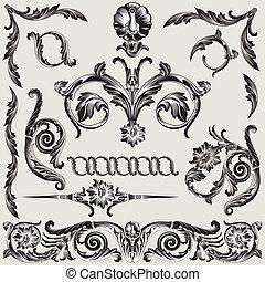 decoración, floral, conjunto, elementos, clásico