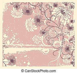 Decoración floral del vector .Vintage de fondo de flores