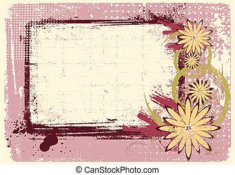 Decoración grunge. Fondo floral rosa para texto