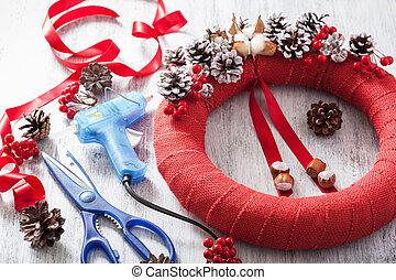 decoración, guirnalda, hechaa mano, diy, navidad, elaboración, rojo