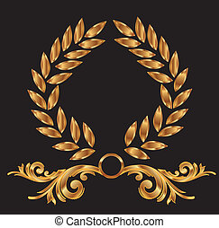 decoración, guirnalda laurel, oro
