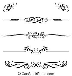 decoración, horizontal, elementos