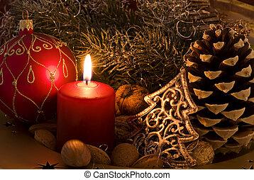 decoración, navidad, candlelight
