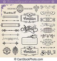 Decoraciones caligraficas del vector
