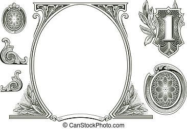 Decoraciones de dinero del vector