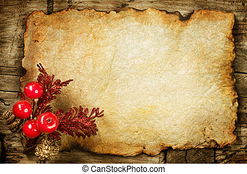Decoraciones de Navidad en el viejo papel. Con espacio