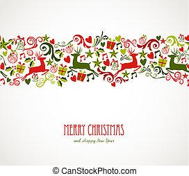 decoraciones, elementos, feliz navidad, border.