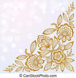 Decorados con hermosas flores de oro en la esquina