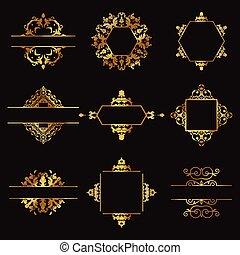 Decorados elementos de diseño de oro