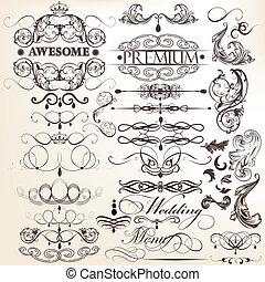 decorati, colección, calligraphic