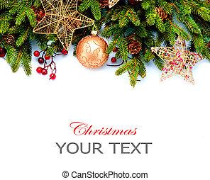 decoration., aislado, fondo., diseño, decoraciones, blanco, feriado, frontera, navidad