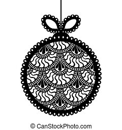Decorativa de encaje blanco de la pelota de Navidad en el fondo beige