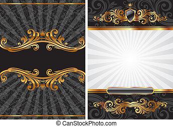 decorativo, conjunto, oro, y, vector, negro, lujo, plano de fondo