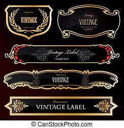 decorativo, dorado, etiquetas, negro, vector