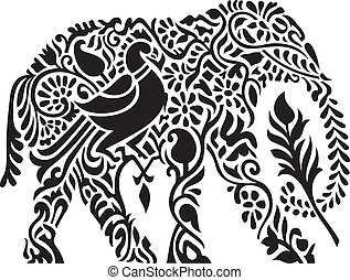 decorativo, elefante indio