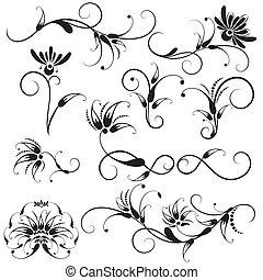 decorativo, elementos florales, diseño