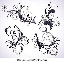 decorativo, elementos florales