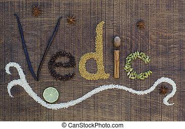 decorativo, encimera, utilizado, palabra, vedic, ayurveda, spelled, de madera, curación, semillas, dieta, manera, especias, surface., afuera