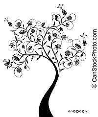 decorativo, fantástico, árbol.