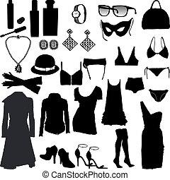 decorativo, femenino, ropa, él