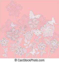 Decorativo floral romántico con mariposas