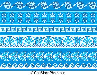 decorativo, griego, fronteras