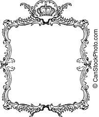 decorativo, illustration., vendimia, vector, florido, frame.
