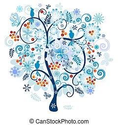 decorativo, invierno de árbol