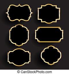 decorativo, oro, marcos, 1606, negro, colección