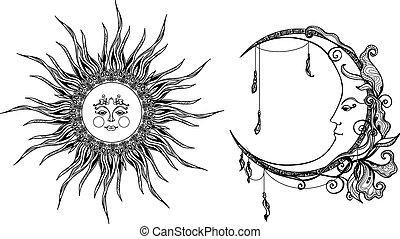 decorativo, sol, luna