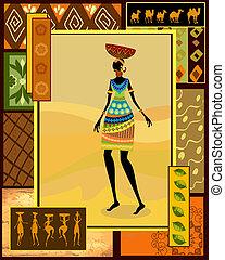 decorativo, vestido, niña, africano